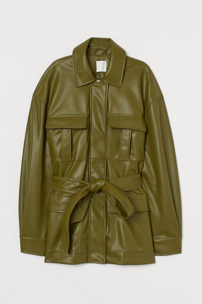 Faux Leather Jacket - Olive green - Ladies | H&M CA