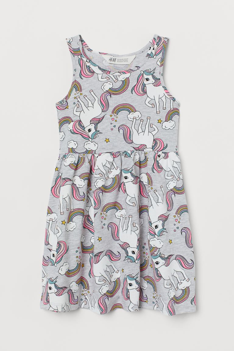 Patterned jersey dress - Light grey marl/Unicorns - Kids | H&M