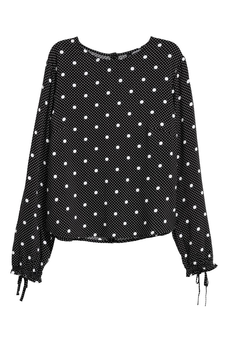 Patterned Blouse - Black/white dotted - Ladies | H&M CA