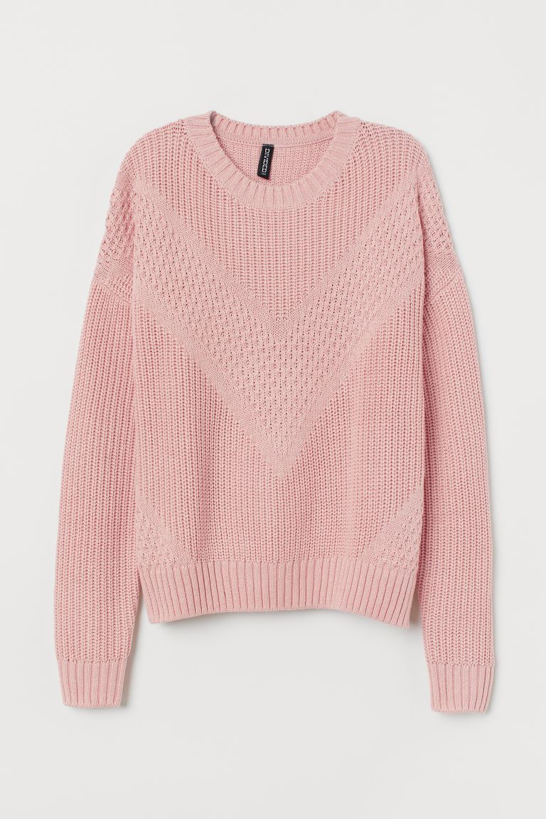Textured-knit Sweater - Dusty rose - Ladies | H&M CA
