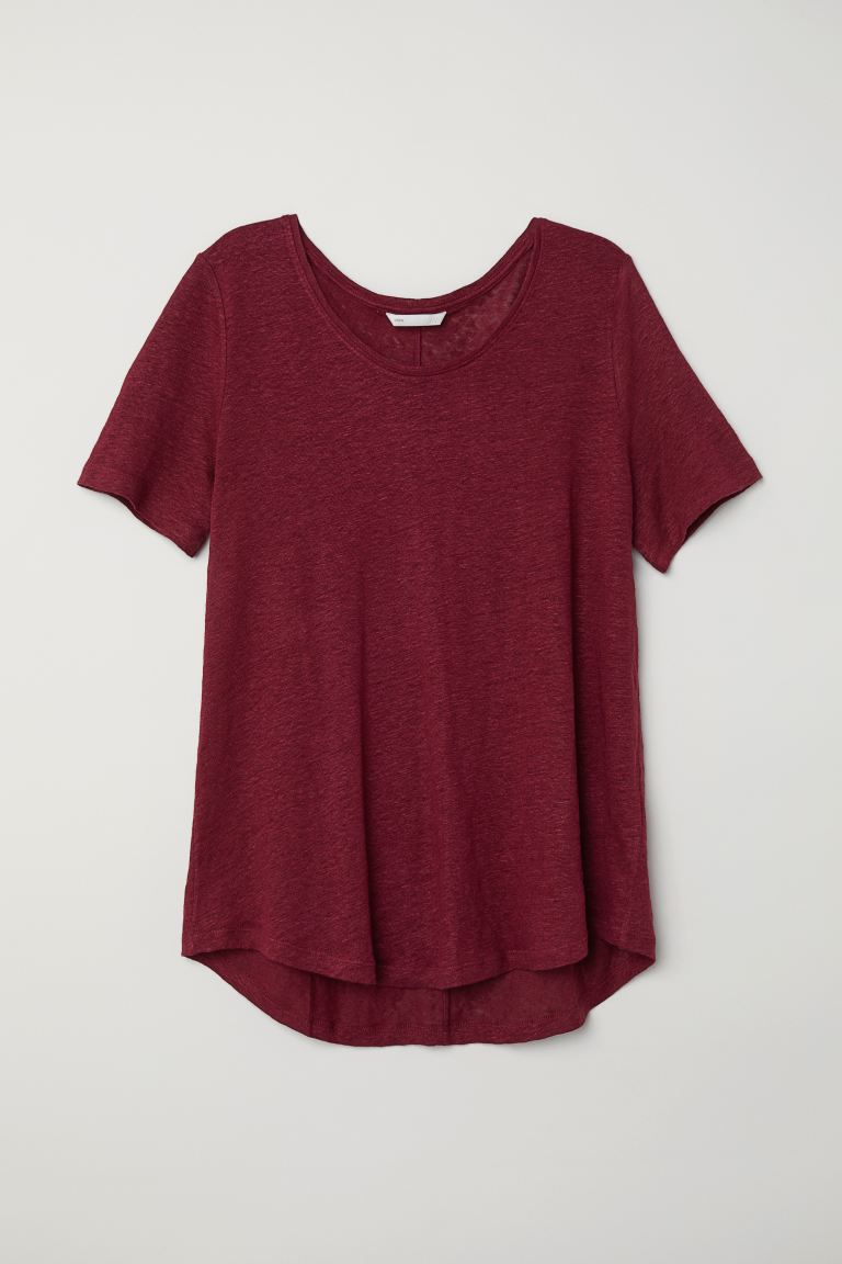 Round-necked Linen Top - Burgundy - Ladies | H&M US