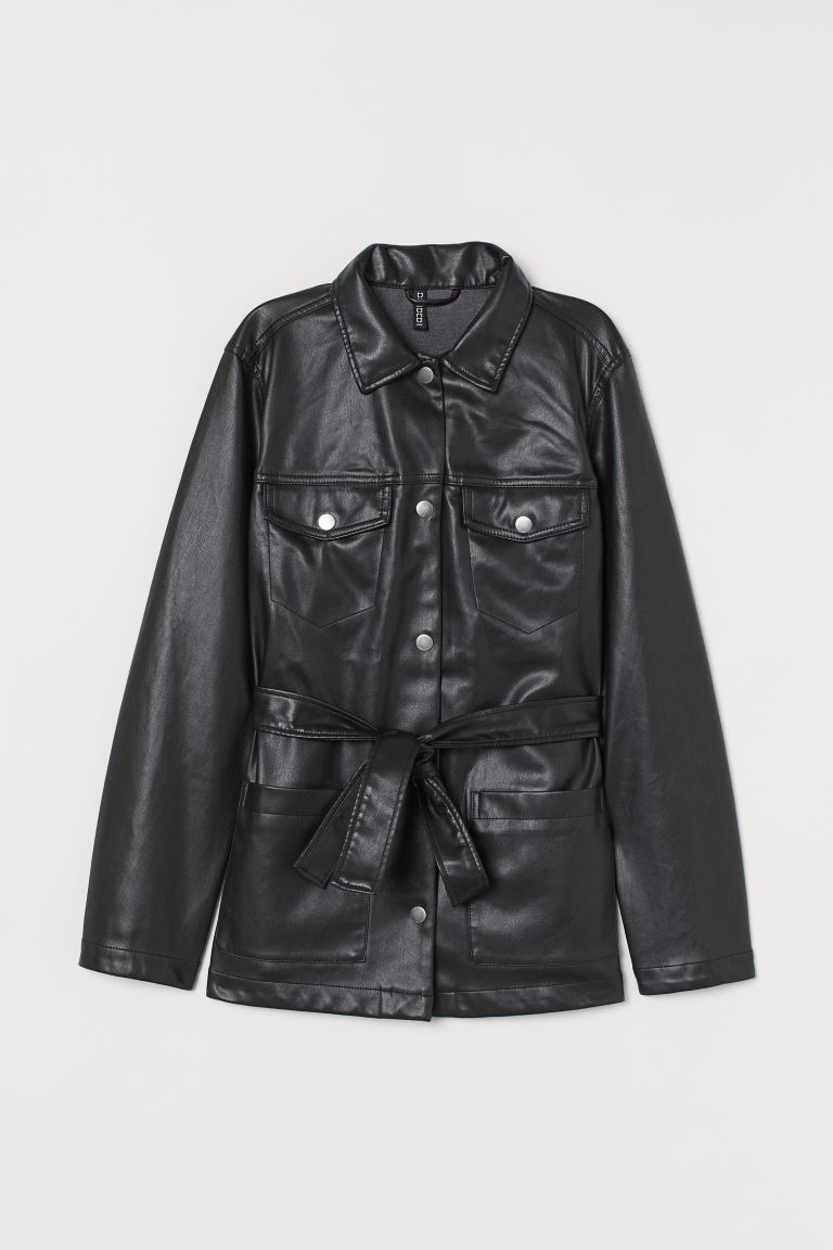 Tie-belt Jacket - Black/faux leather - Ladies | H&M CA