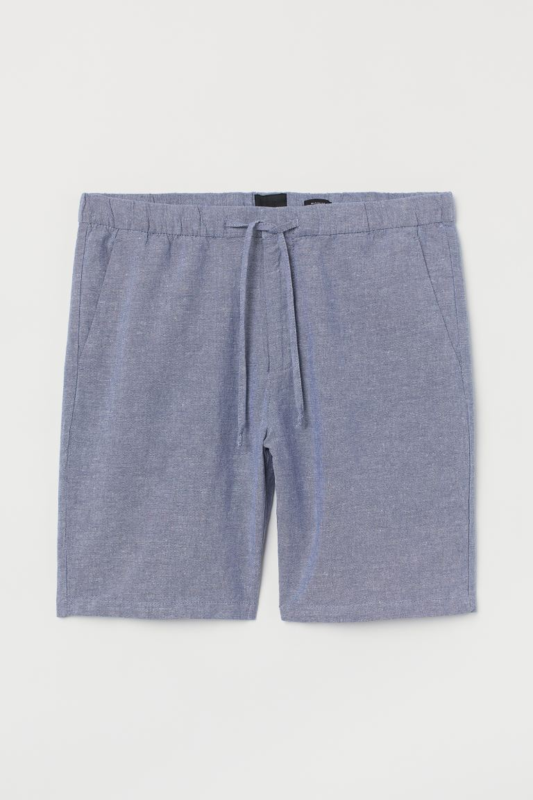 Shorts Relaxed fit en lino - Azul jaspeado claro - Men | H&M US
