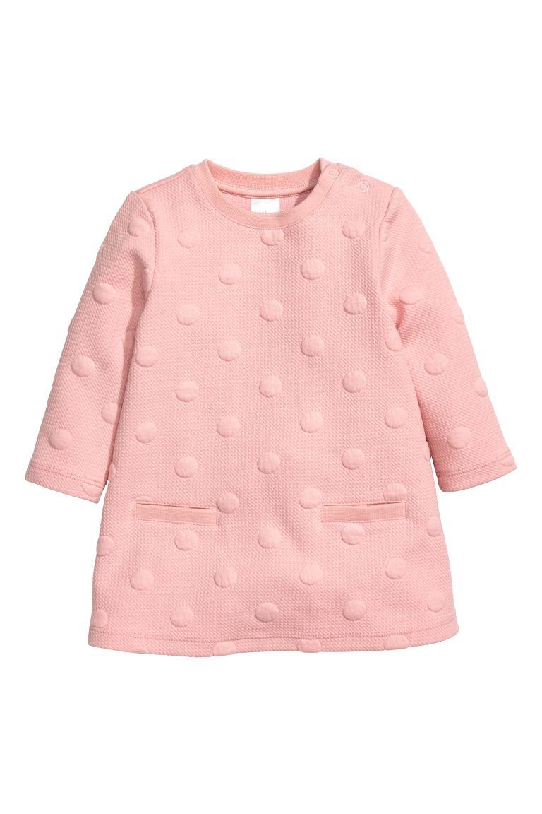 Textured Dress Light Pink Spotted