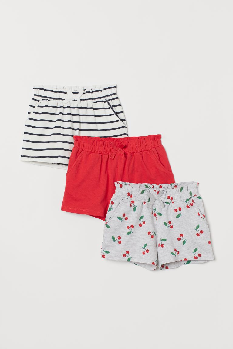3-pack Jersey Shorts - Light gray melange/cherries - Kids | H&M US
