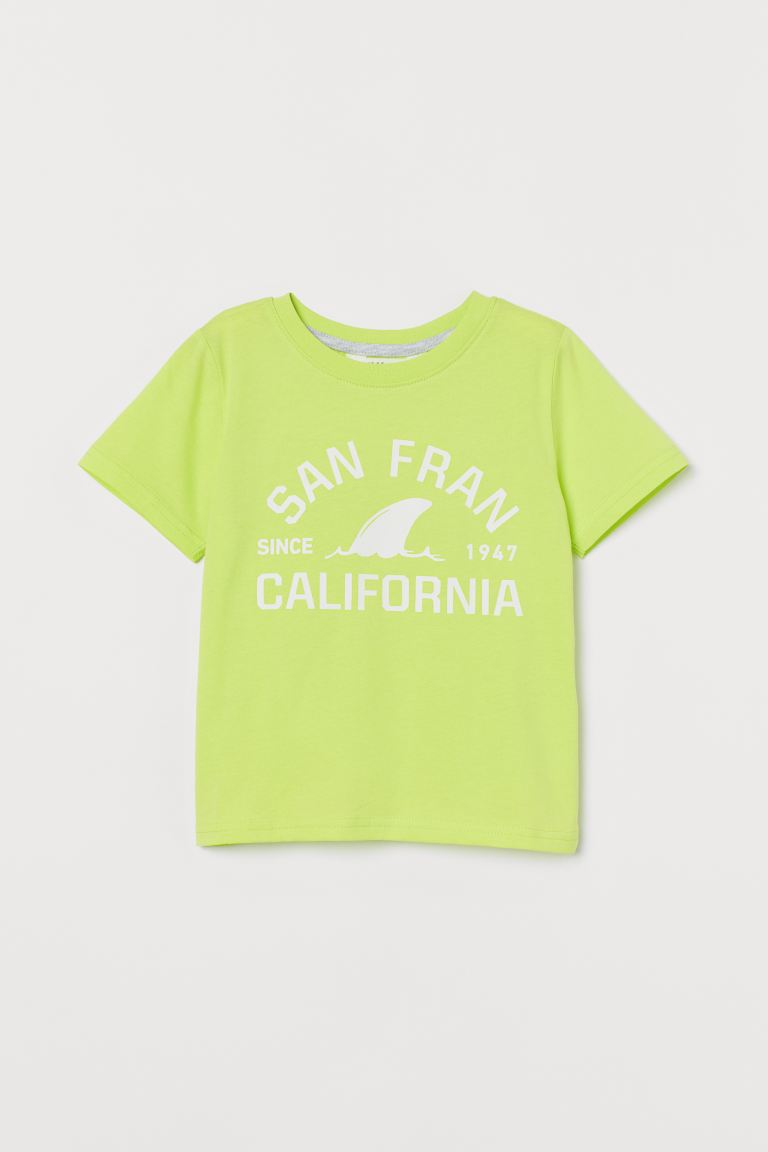 T-shirt with Printed Motif - Neon yellow/San Fran - Kids | H&M CA
