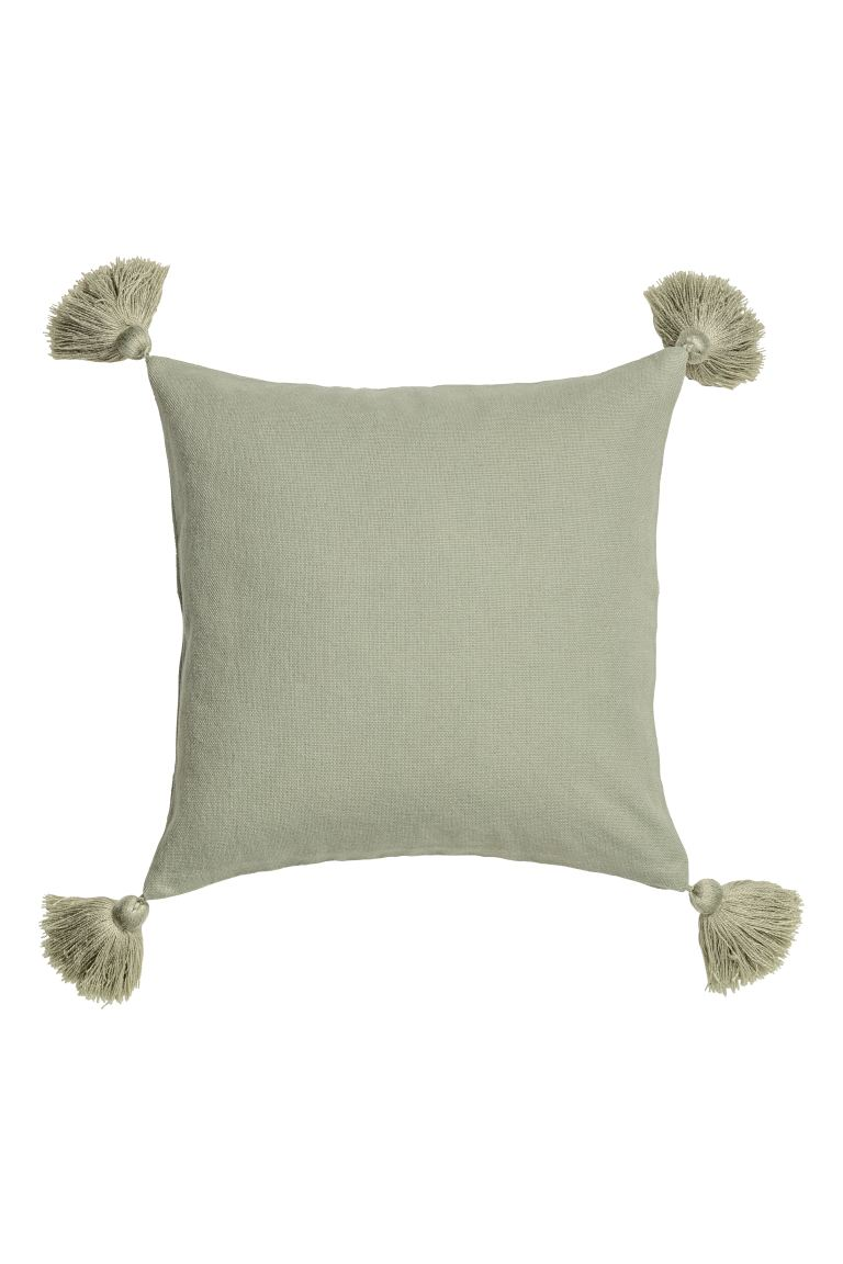 Tasselled cushion cover - Dusky green - Home All | H&M GB