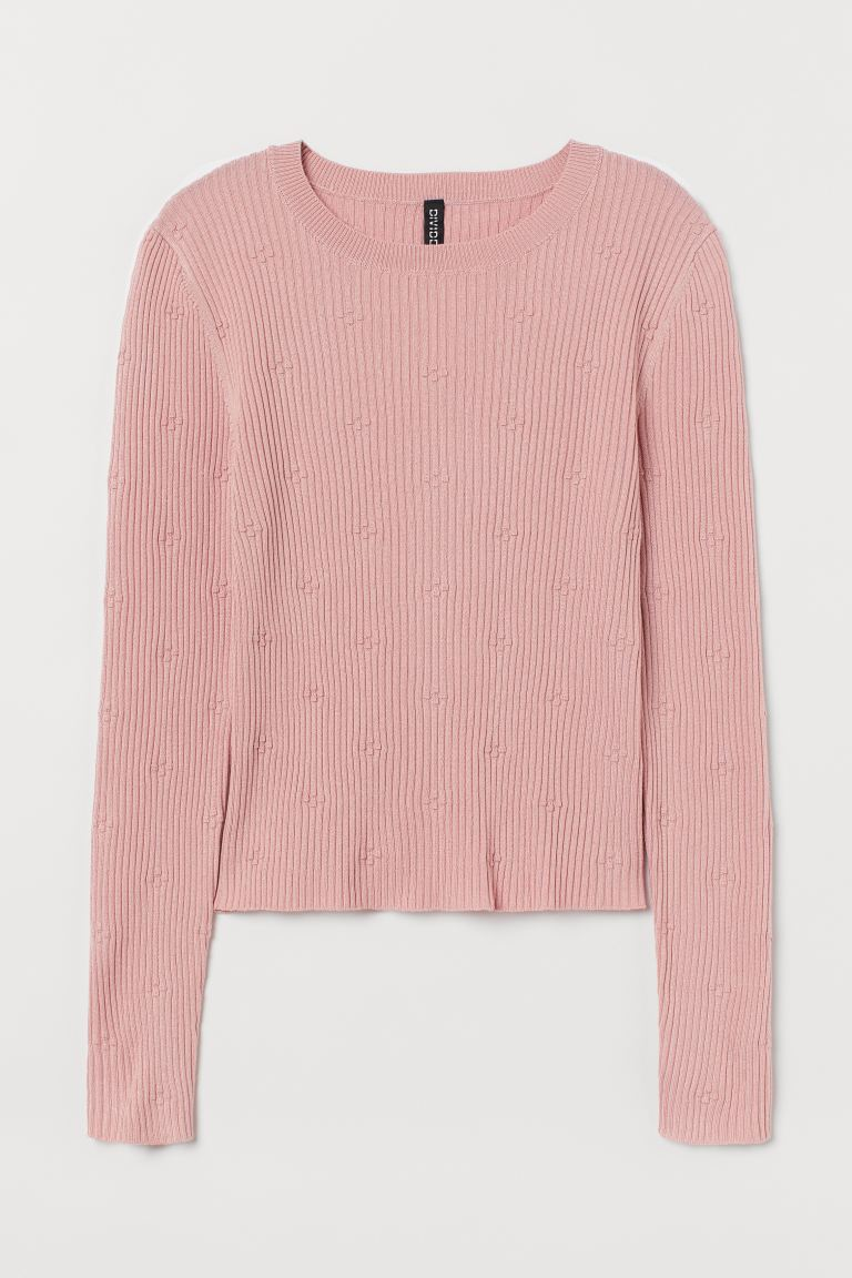 Ribbed Top - Light pink - Ladies | H&M US