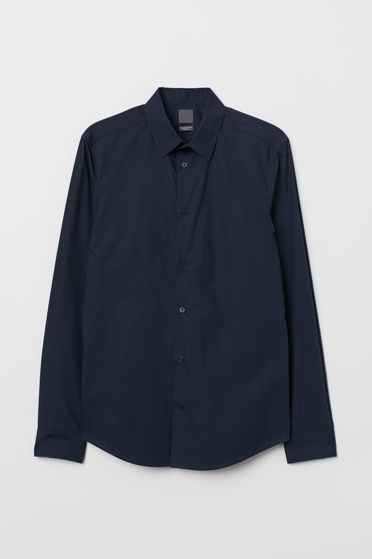 Premium cotton shirt - Dark blue - Men | H&M