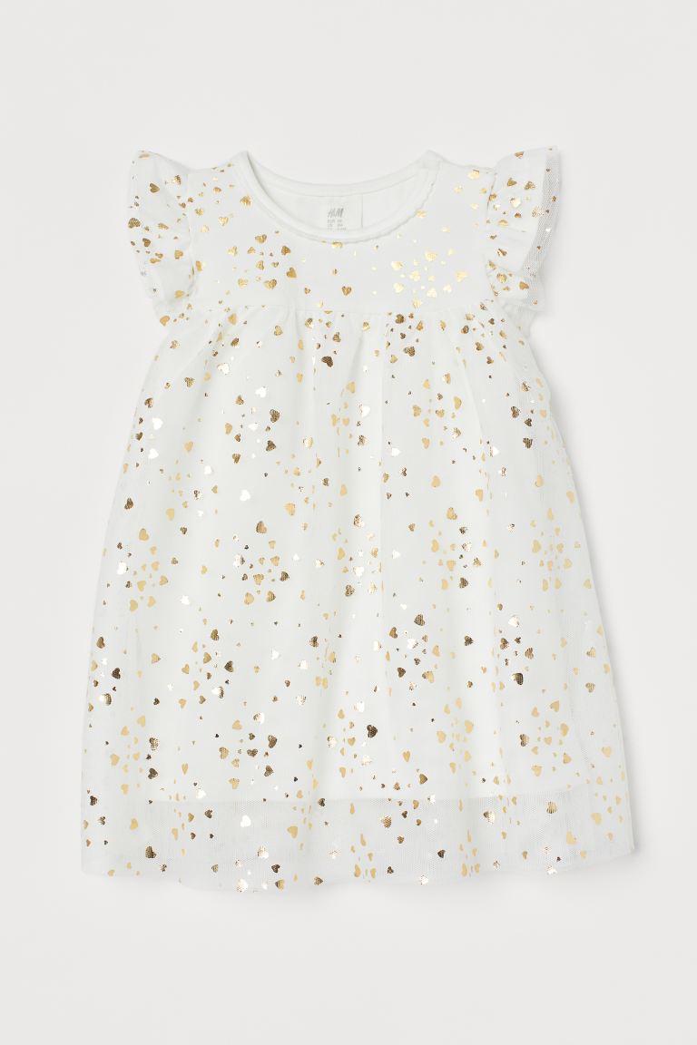 Weißes Tüllkleid mit goldenen Applikationen von H&M
