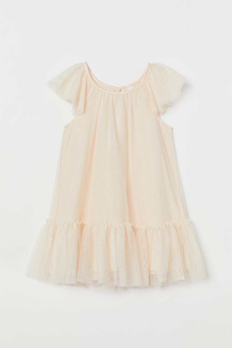 Glittery Tulle Dress - Powder beige -  | H&M US