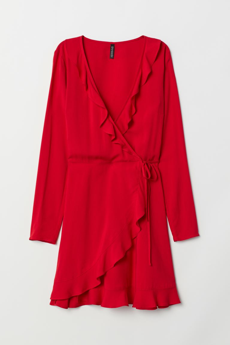 Wickelkleid mit Volants - Rot - Ladies | H&M AT