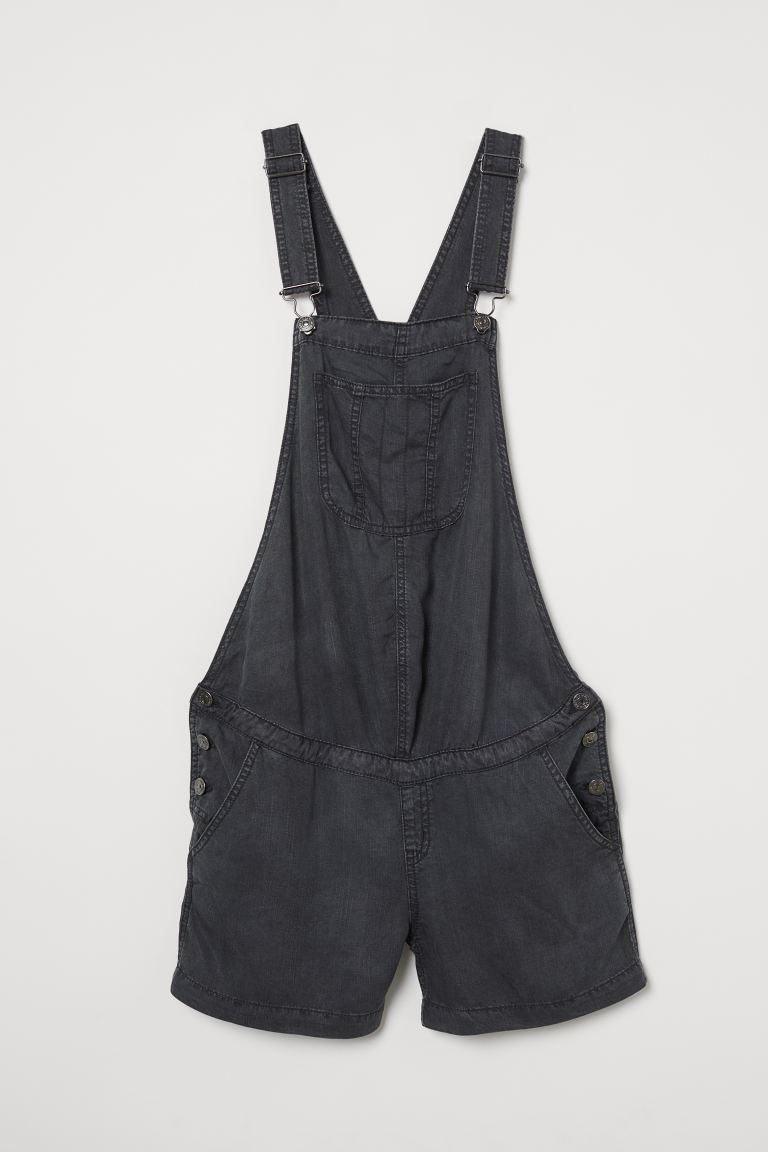 MAMA Lyocell dungaree shorts - Black - Ladies | H&M GB