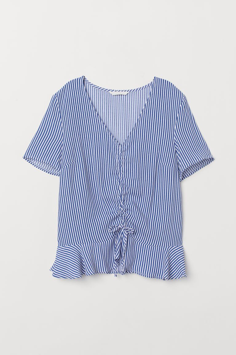 Patterned viscose blouse - Blue/White striped - Ladies | H&M