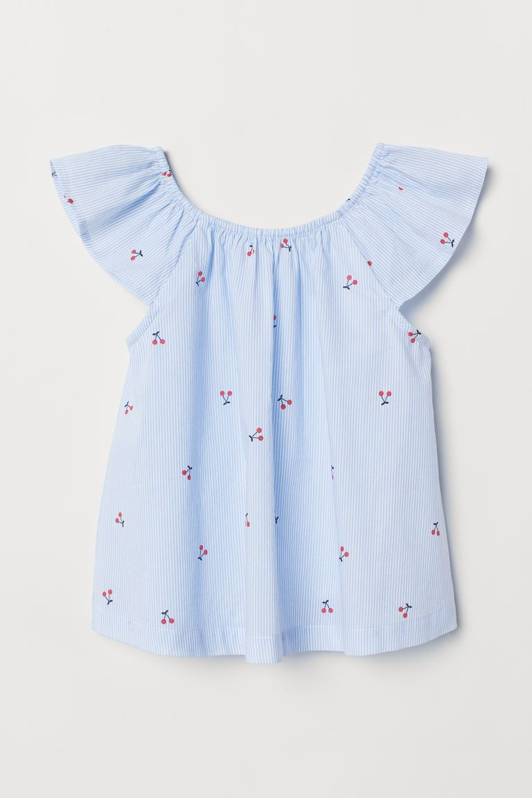 Patterned Cotton Blouse - Light blue/white striped - Kids | H&M US