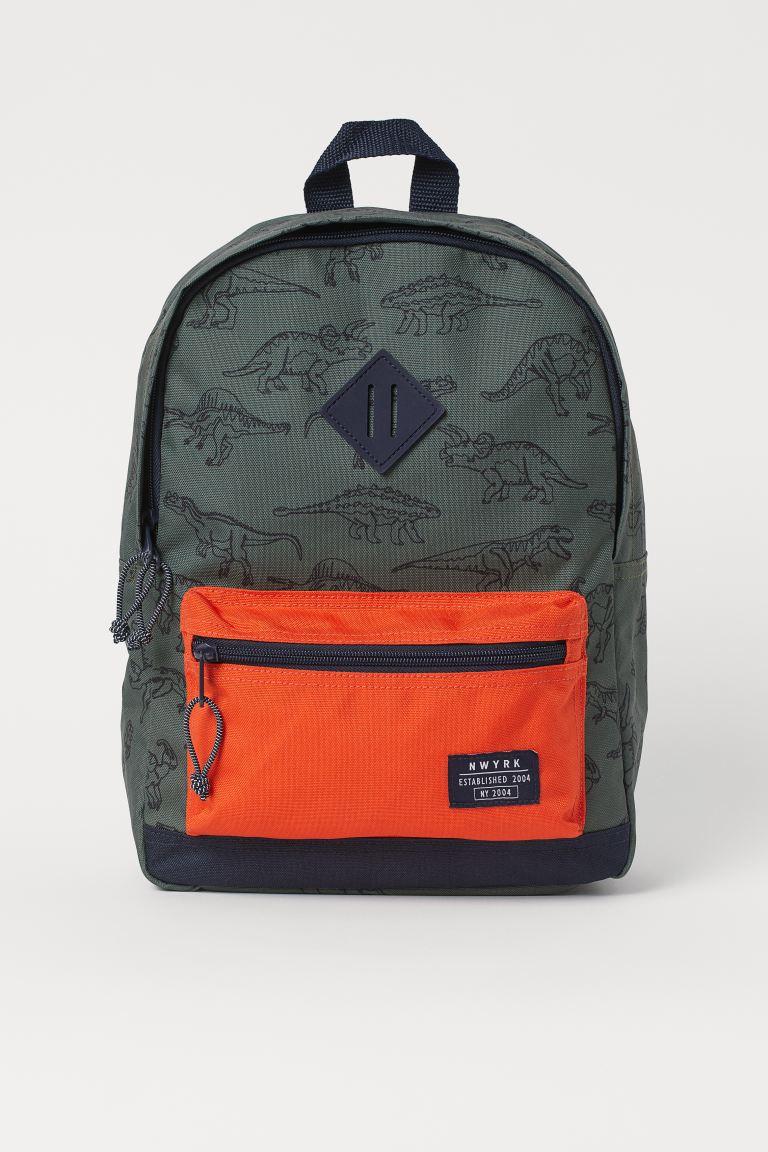 Backpack - Dark khaki green/Dinosaurs - Kids | H&M GB