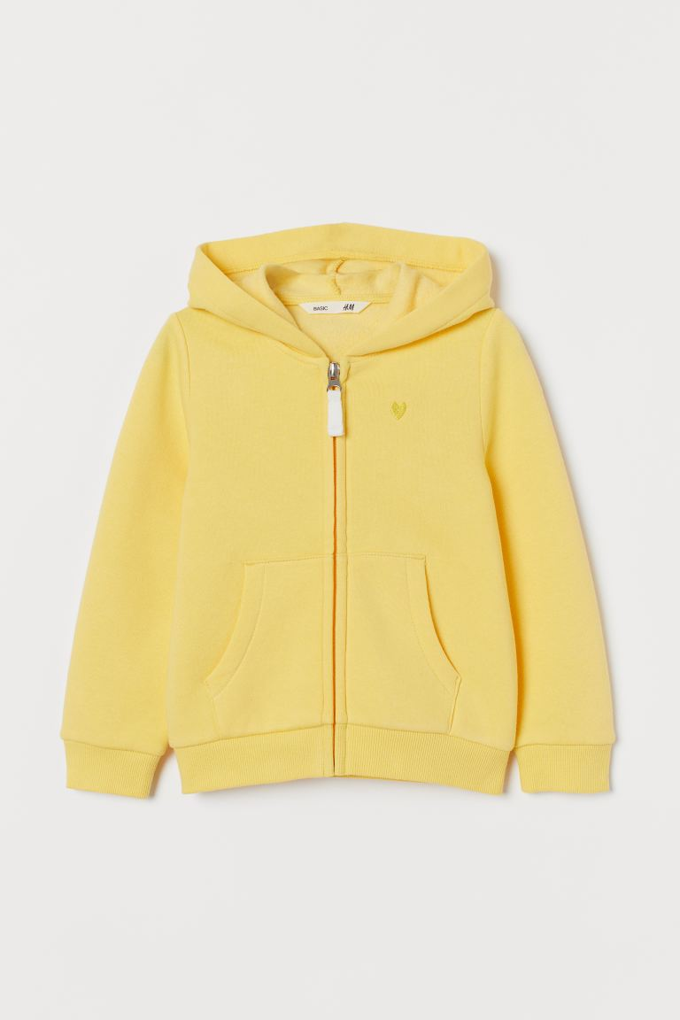 Hooded Jacket with Embroidery - Yellow - Kids | H&M CA
