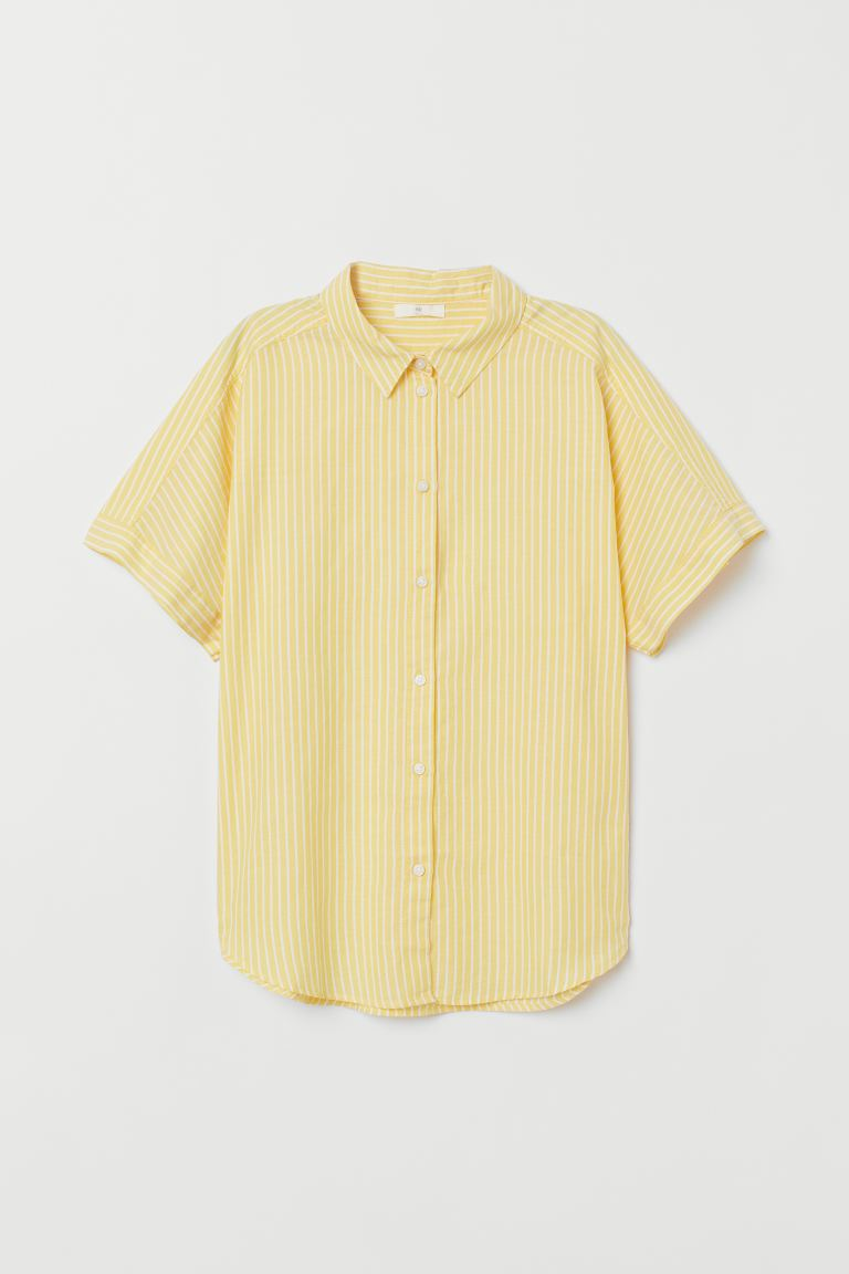 Short-sleeved Cotton Shirt - Yellow/striped - Ladies | H&M US