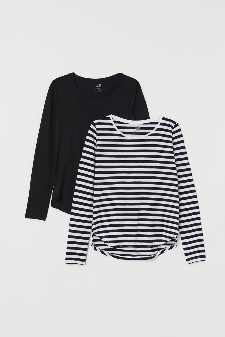 2-pack tops - Black/Striped - Kids | H&M IE