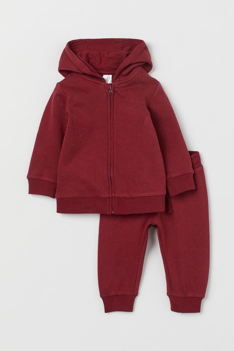 2-piece sweatshirt set - Dark red - Kids | H&M GB