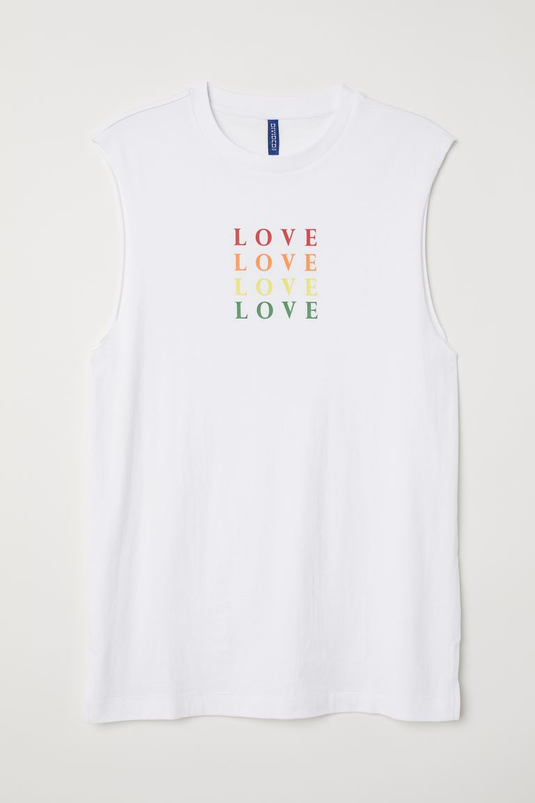 Tank Top with Motif - White/Love - Men | H&M CA
