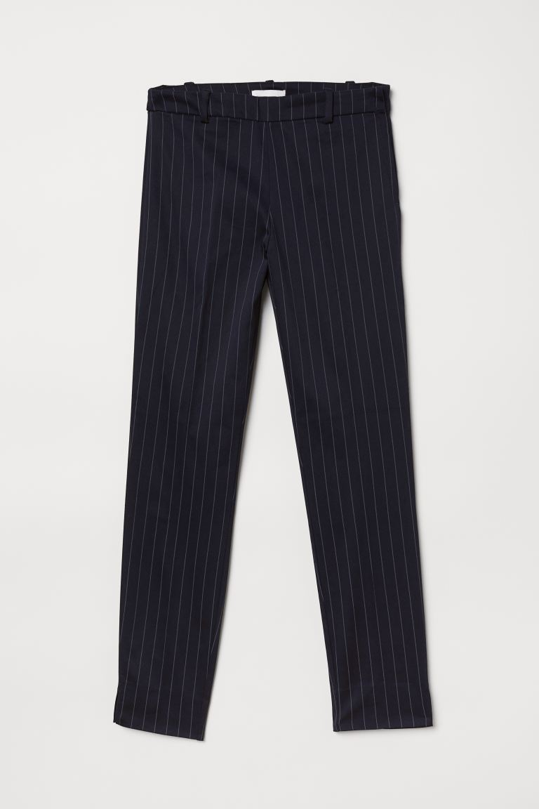 Cigarette trousers - Dark blue/Striped - Ladies | H&M GB