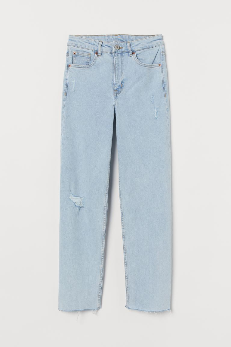 Straight High Ankle Jeans - Pale denim blue/Trashed - Ladies | H&M IE