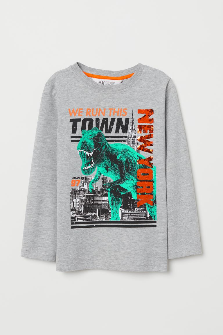 Top with a motif - Light grey marl/New York - Kids | H&M GB
