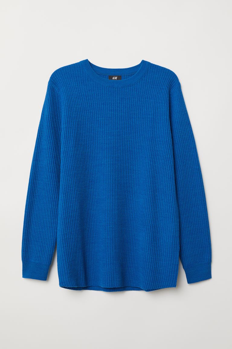 Textured-knit jumper - Blue marl - Men | H&M IE