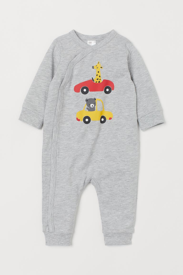 Jumpsuit with Printed Design - Light gray melange/cars -  | H&M US