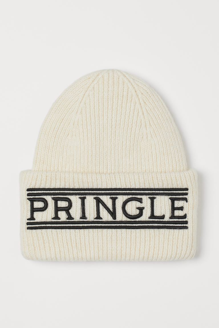 Knitted hat with embroidery - White/Pringle - Ladies | H&M IN