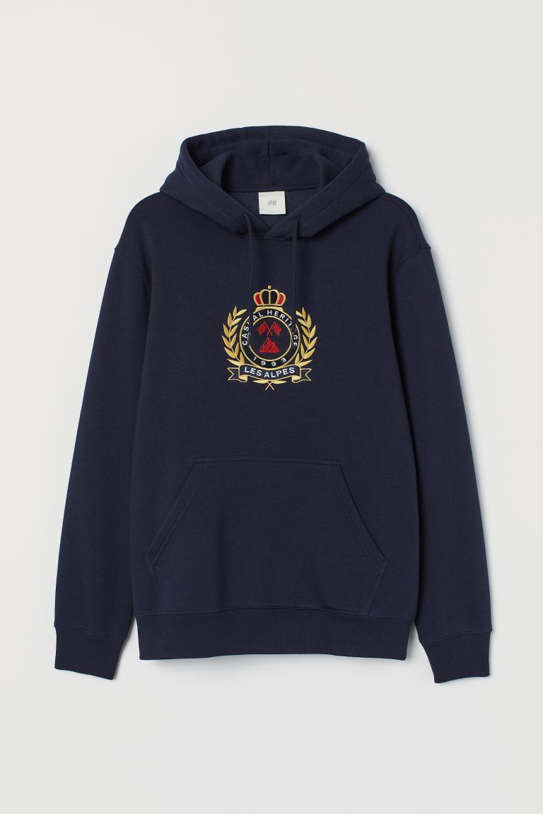 Printed hooded top - Dark blue/Les Alpes - Men | H&M IN