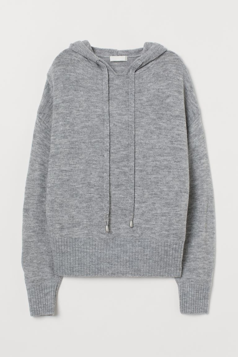 Fine-knit hooded jumper - Light grey marl - Ladies | H&M IN