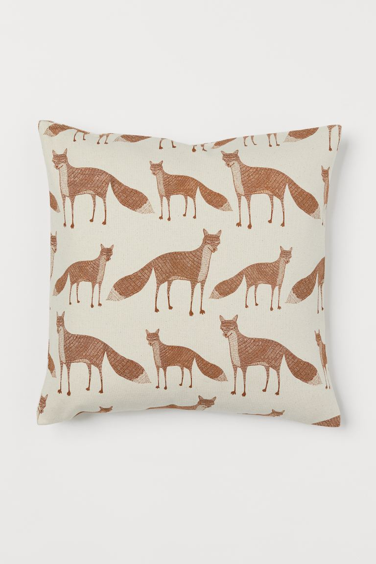 Patterned Cotton Cushion Cover - Light beige/foxes - Home All | H&M US