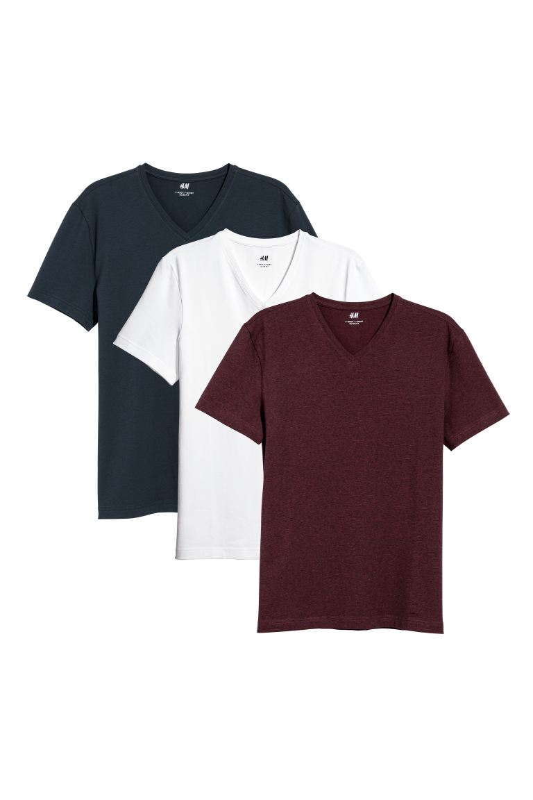 3-pack T-shirts Slim Fit - Burgundy/Multicoloured - Men | H&M