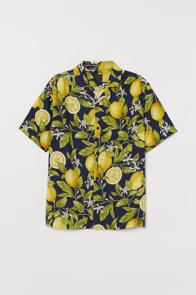 Patterned resort shirt - Dark blue/Lemons - Men | H&M GB