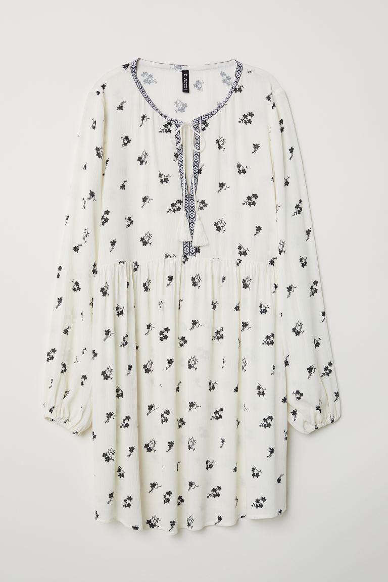 Patterned viscose dress - White/Floral - Ladies | H&M GB