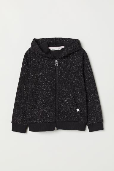 Hooded jacket - Black/Spotted - Kids | H&M IE