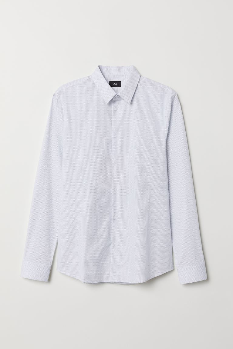 Camisa Muscle Fit - Blanco/Lunares - Men | H&M US