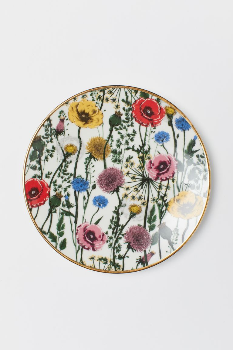 Porcelain Plate with Motif - White/floral - Home All | H&M CA
