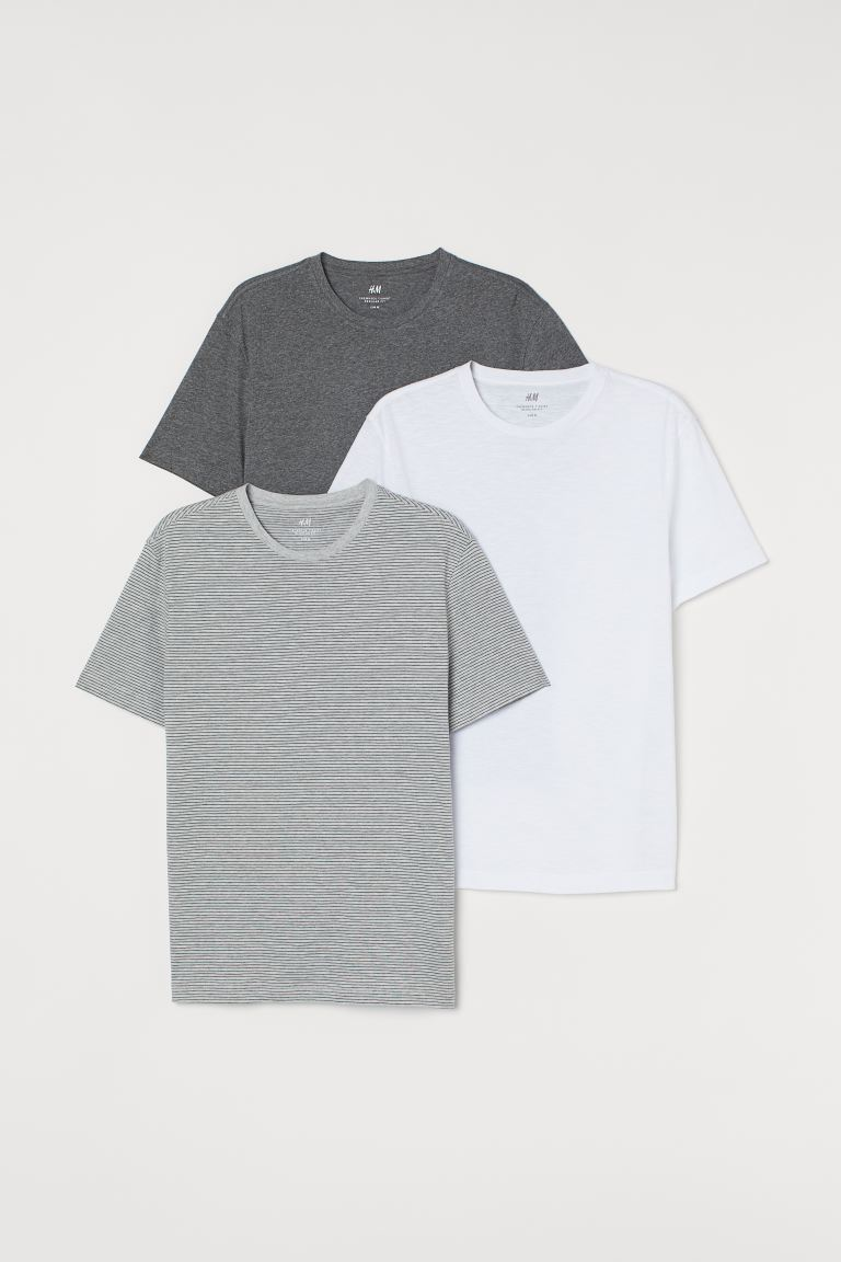 3-pack T-shirts Regular Fit - Grey marl/White/Lt. grey marl - Men | H&M