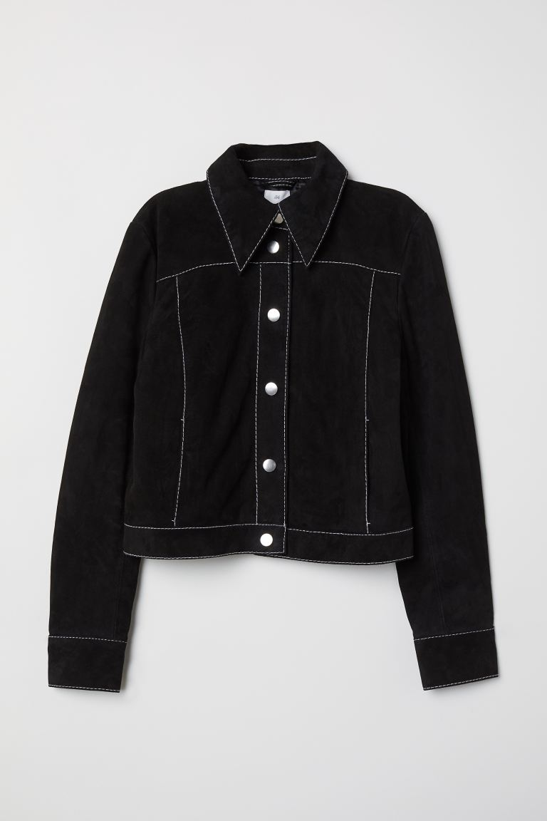 Short suede jacket - Black - Ladies | H&M GB