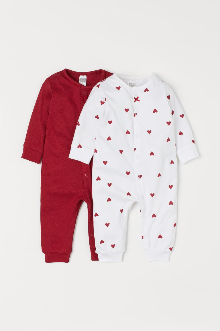 Pyjamas, lot de 2 - Rouge/cœurs - ENFANT | H&M BE