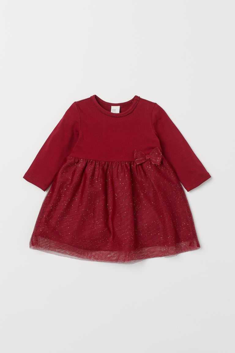 Dress with Tulle Skirt - Dark red - Kids | H&M US