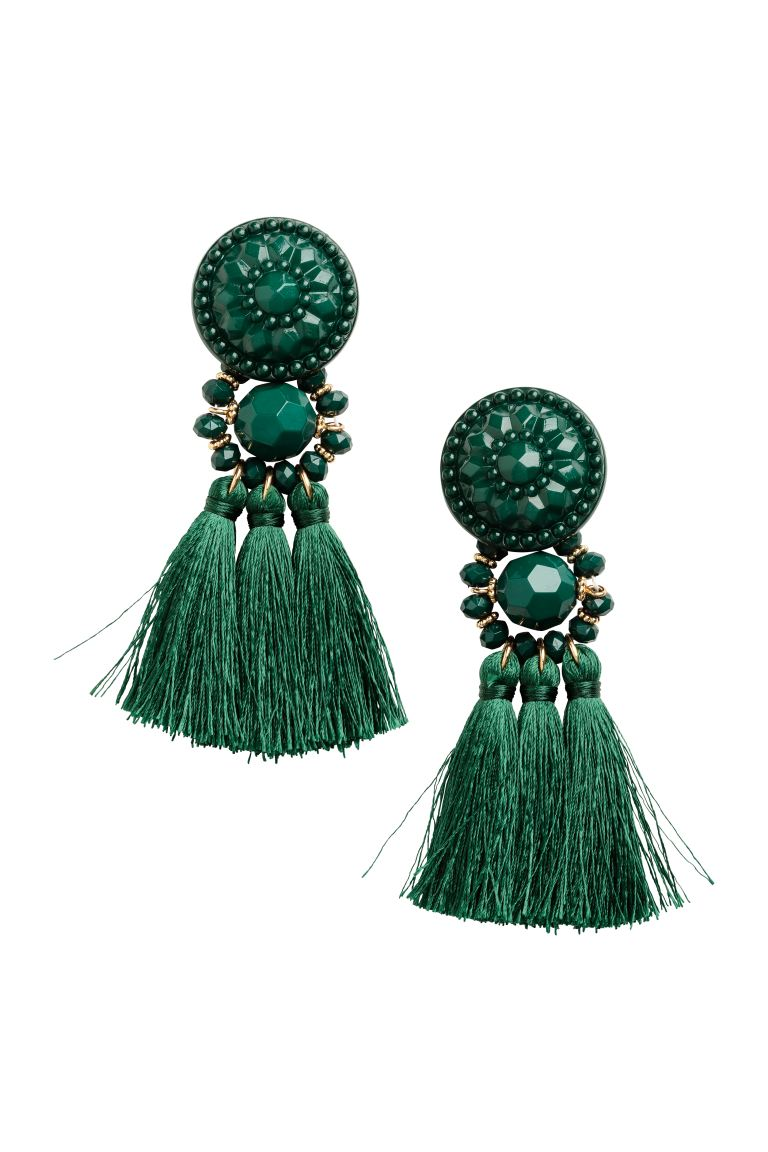 Earrings with Tassels - Dark green - Ladies | H&M CA