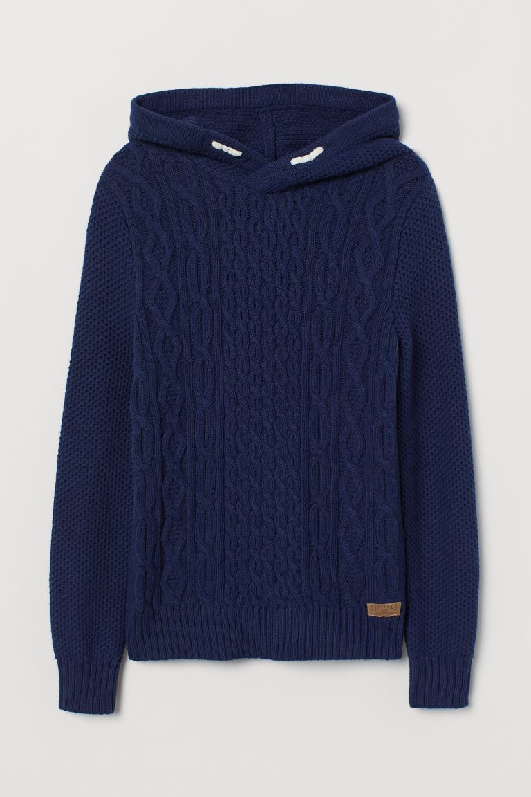 Cable-knit Hoodie - Dark blue - Kids | H&M US