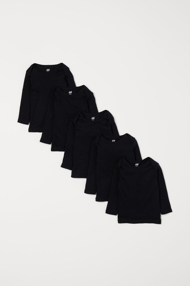 5-pack jersey tops - Black - Kids | H&M IN