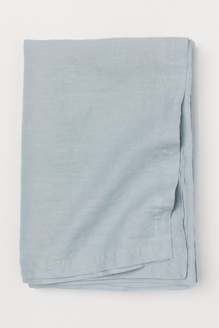 Washed linen tablecloth - Light turquoise - Home All | H&M GB