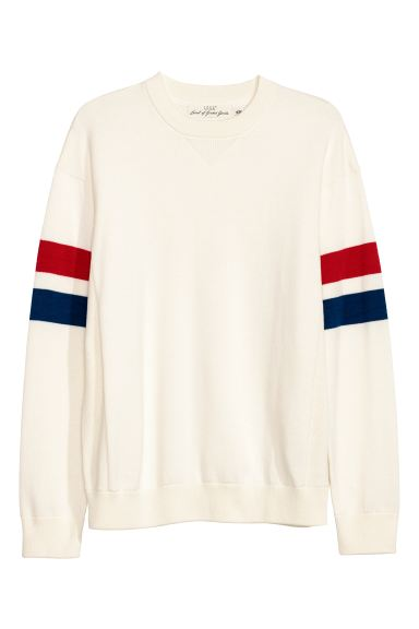 Knitted cotton jumper - Natural white - Men | H&M IE