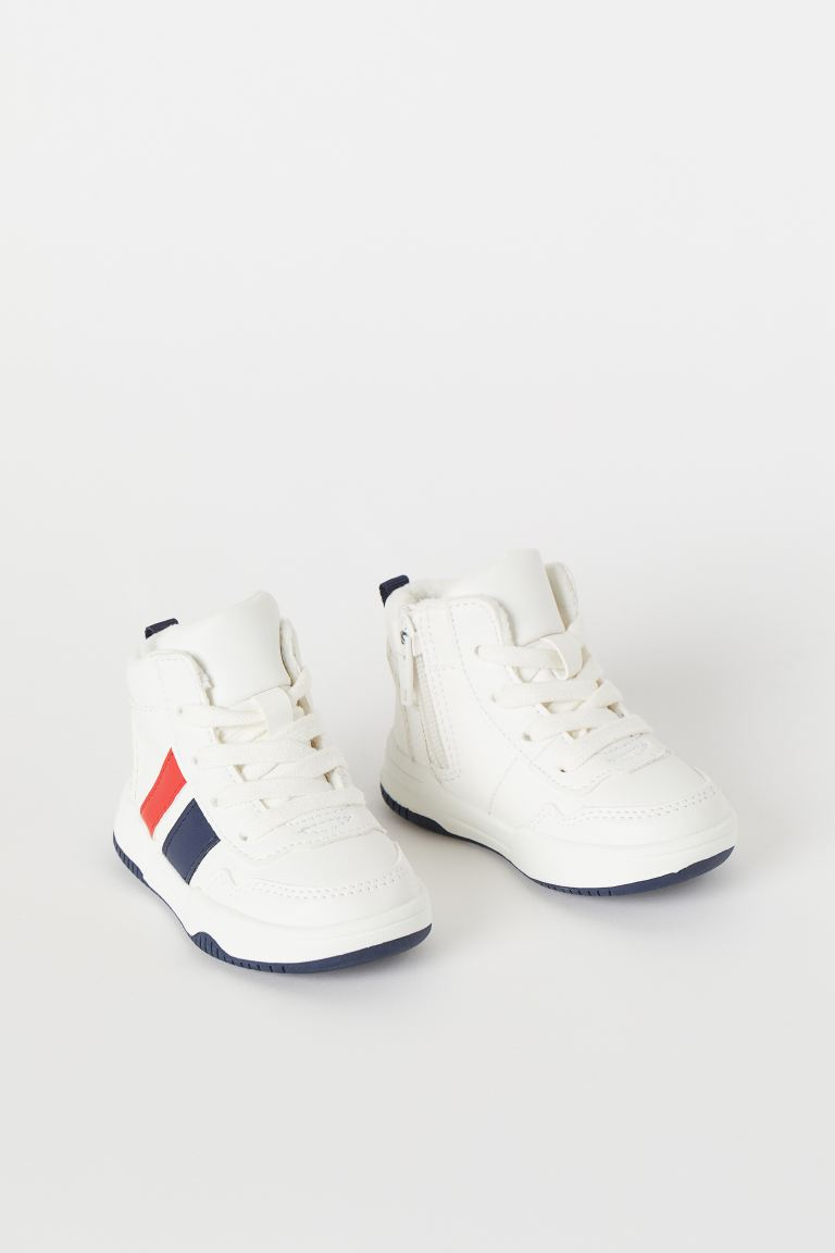 Fleece-lined High Tops - White/dark blue - Kids | H&M CA